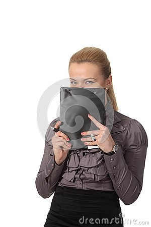Businesswoman hid face behind notepad
