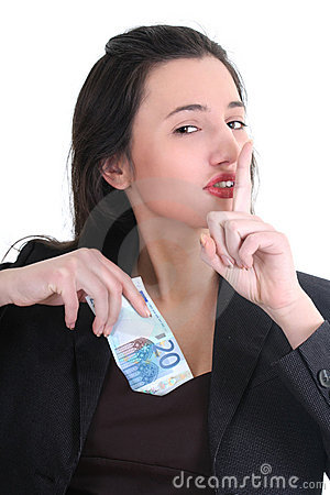 Businesswoman hiding money