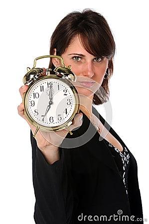 Businesswoman Holding Alarm Clock