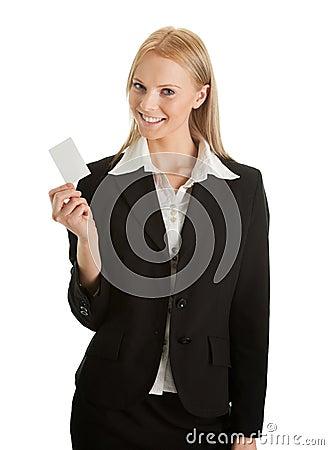 Businesswoman holding blank card