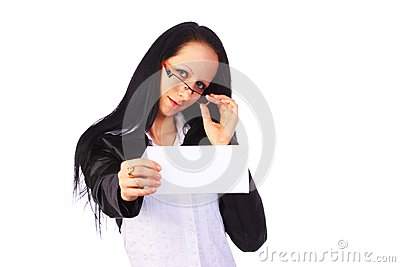 Businesswoman holding a blank card, isolated