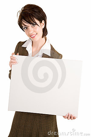 Businesswoman Holding a Blank White Sign