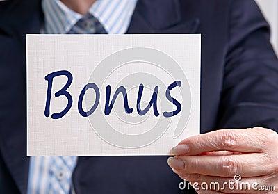 Businesswoman holding bonus sign