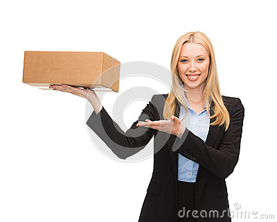 Businesswoman holding cardboard box
