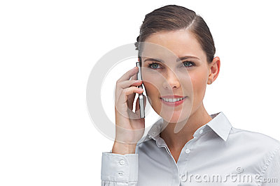 Businesswoman holding cellphone
