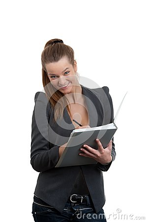 Businesswoman holding documents for signatur