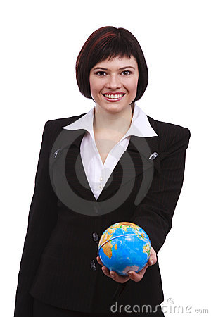 Businesswoman holding Earth globe on a hand