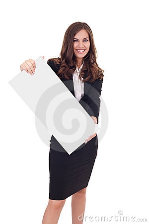 Businesswoman holding empty banner