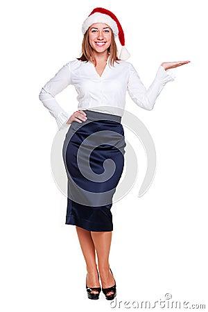 Businesswoman holding empty copyspace