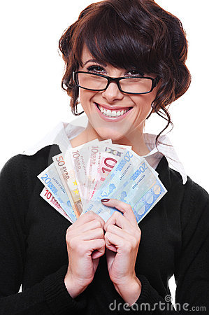 Businesswoman holding euro in her hands