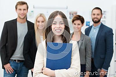 Businesswoman holding her curriculum vitae