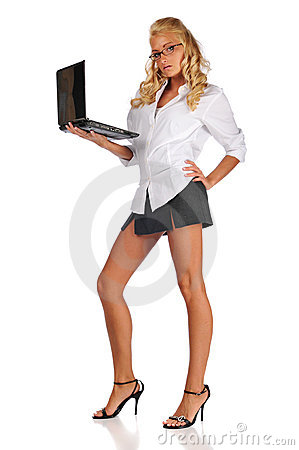 Businesswoman Holding Her Laptop Royalty Free Stock Image - Image: 10341536