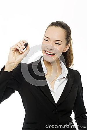 Businesswoman holding a marking pen
