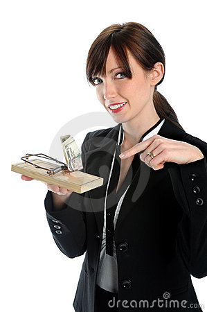 Businesswoman Holding mouse Trap With Money