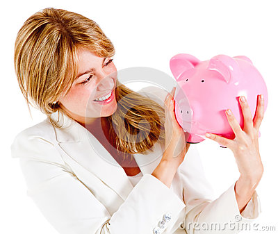 Businesswoman holding a piggybank