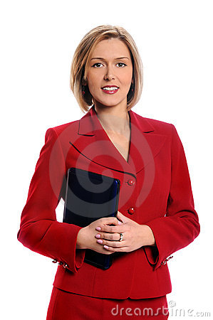 Businesswoman Holding Small Laptop