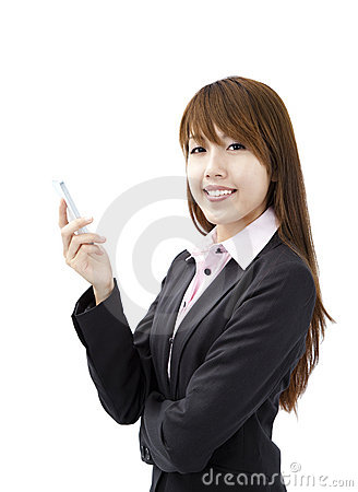 Businesswoman holding smart mobile phone