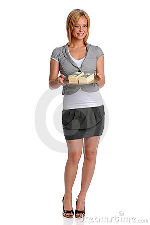 Businesswoman Holding Tray With Money