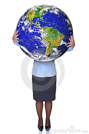 Businesswoman holding a world globe