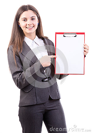 Businesswoman holds clipboard and point to it