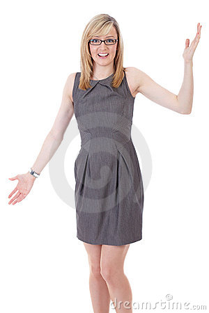Businesswoman holds her arms wide open