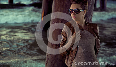 Businesswoman with huge sunglasses