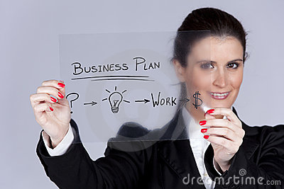Businesswoman with ideas for success