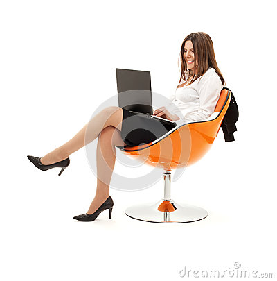 Free Businesswoman In Chair With Laptop Stock Image - 42814651