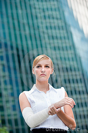 Businesswoman With Injured Arm
