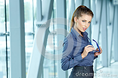 Businesswoman inside a modern house