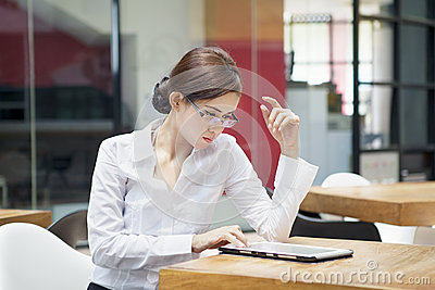Businesswoman with ipad