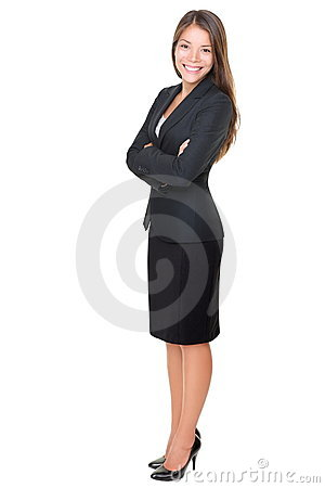 Businesswoman isolated full length on white