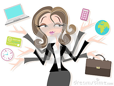 Businesswoman juggling icons