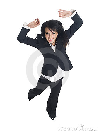Businesswoman - jump for joy