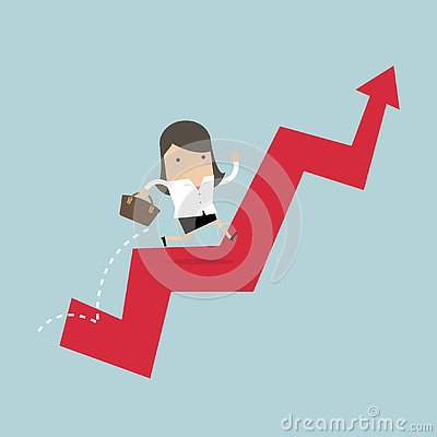 Free Businesswoman Jump Over Growing Chart. Stock Photography - 130439102
