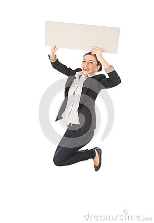 Businesswoman jumping with blank empty billboard