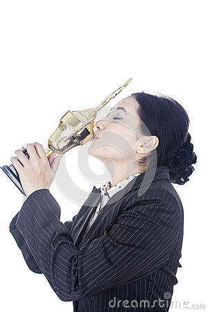 Businesswoman Kissing Trophy