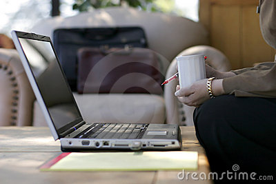 Businesswoman Laptop & Coffee