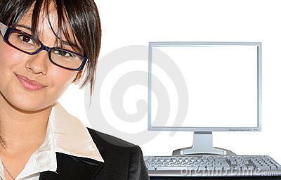 Businesswoman and lcd monitor