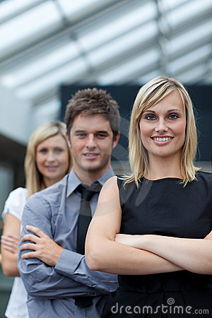 Free Businesswoman Leading Her Team With Folded Arms Royalty Free Stock Image - 10265526