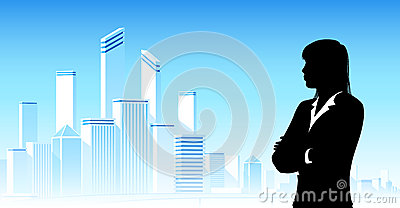Businesswoman looking at city