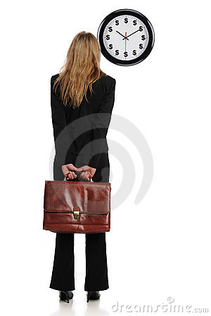 Businesswoman looking at a dollar clock