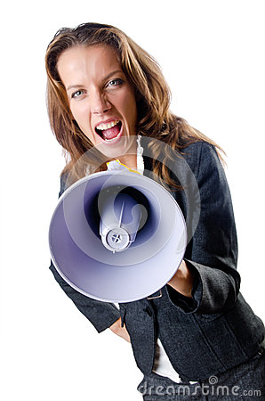 Businesswoman with loudspeaker
