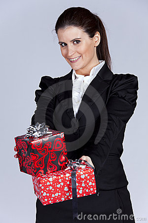 Businesswoman with many gift packages