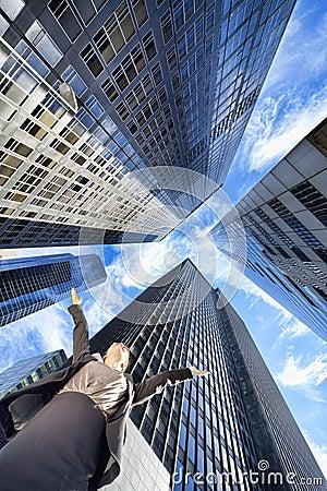 Businesswoman in Modern City Office Skyscrapers