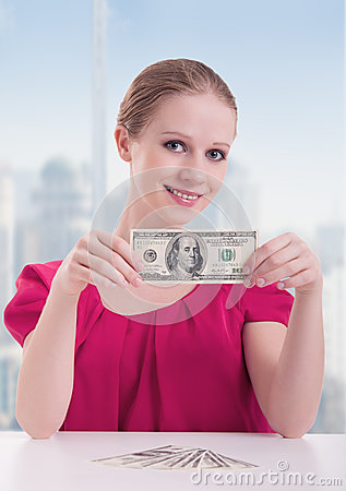 Businesswoman  with money, dollars