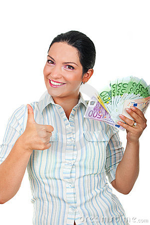 Businesswoman with money giving thumbs up