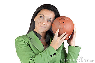 Businesswoman with a moneybox