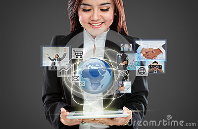 Businesswoman navigating in virtual reality interface