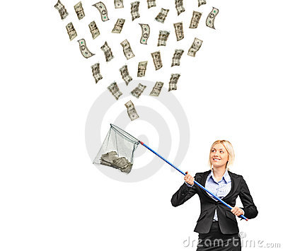 Businesswoman with a  net trying to catch money